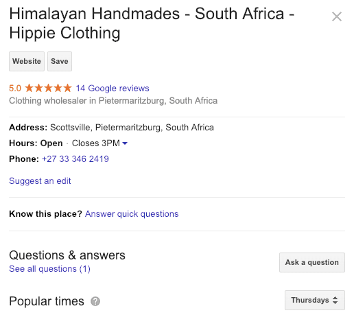 HimalayanHandmades Google My Business