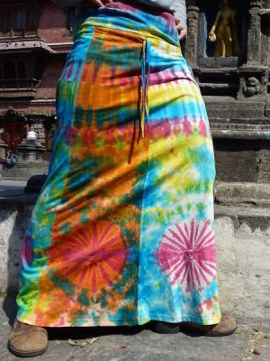 A beautiful tie-dye boho skirt in shades of blue