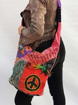 Razor cut cotton jog bag with patch peace sign and patch flowers