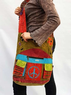Mutlicolour patchwork Nepali cotton hobo bag with peace sign