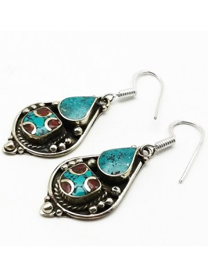Beaded Stone Earring