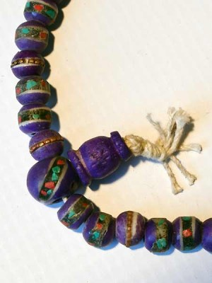 Purple bone malas inlaid with metal, turquoise and coral