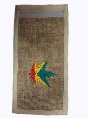 Rasta colors on a marijuana leaf hemp wallet from Nepal.
