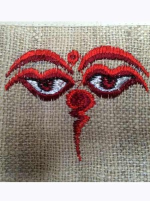 Buddha eyes hemp embroidered wallet from Nepal.