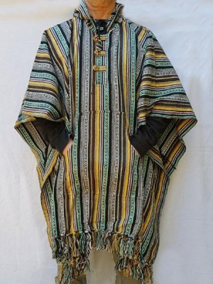 Mexican poncho, heavy hand woven cotton