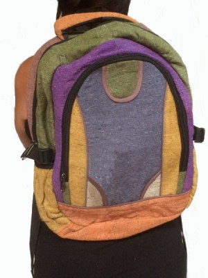 Colorful backpack made from cotton in multi patches.