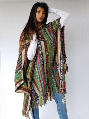 Nepal poncho made from stripe heavy cotton, handwoven
