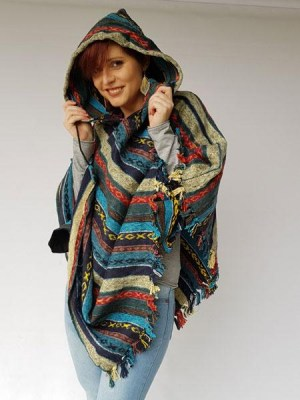 Poncho hippie, turquoise blues and mixed cotton stripes, handwoven