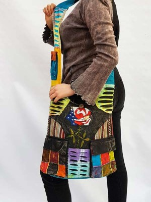 Hippie sling shoulder bag with American rose and patchwork