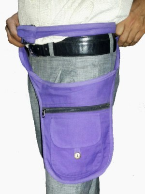 Purple hippie fanny pack or belt bag in a plain colour, made in Nepal
