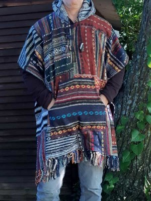 Hand woven geri cotton ethnic, Himalayan ponchos made in Nepal