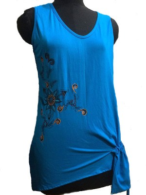 Turquoise embroidered top with draw string pocket