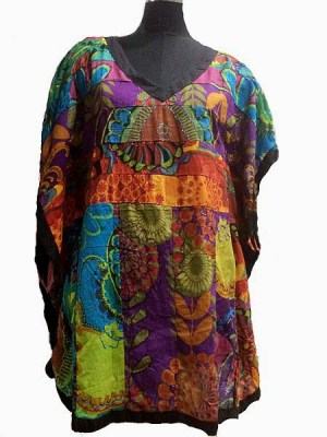 Fashion from Nepal. Bright, colourful cotton top.