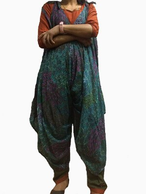 Block print style hippie jumpsuit made in Nepal