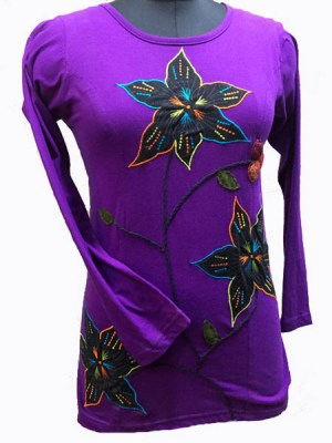 Purple hippy flower dress in long sleeve