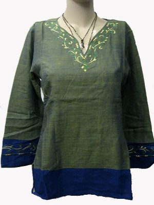 Cotton embroidered kurtha top from Nepal