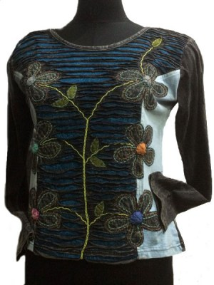 Hippie top for women with patchwork flowers and razor cutwork.