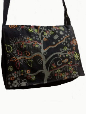 Tree of Life bag with print and embroidery