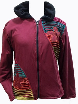 Fleece lined Nepalese clothing is a trademark range in Kathmandu. This maroon hoodie with razor cut is part of our Nepalese clothing range.