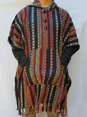 Mens hippie poncho, reds and black, handwoven gheri cotton