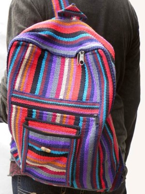 Hand woven Himalayan backpack made by a Tibetan family. Stripe ethnic geri cotton made on looms.