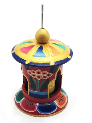 Painted Wood Prayer Wheel