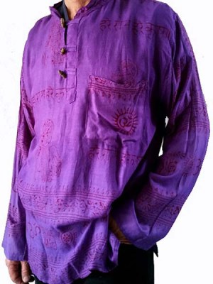 Light cotton purple ramnam shirt with print. Typical of Nepalese clothing designs.
