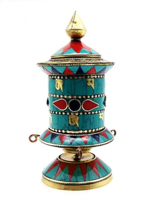 Inlaid Stone Prayer Wheel