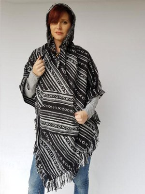Black and white womans hippie poncho, hand woven in Nepal