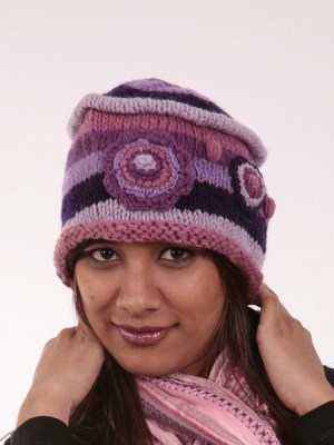 Wool funky hippie beanie hand knitted in Nepal