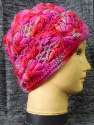 pink crochet wool beanie from Nepal