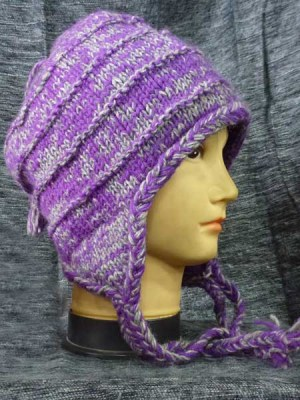 purple earflap hat from Nepal