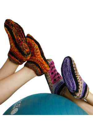Hand knitted woolen slippers from Nepal
