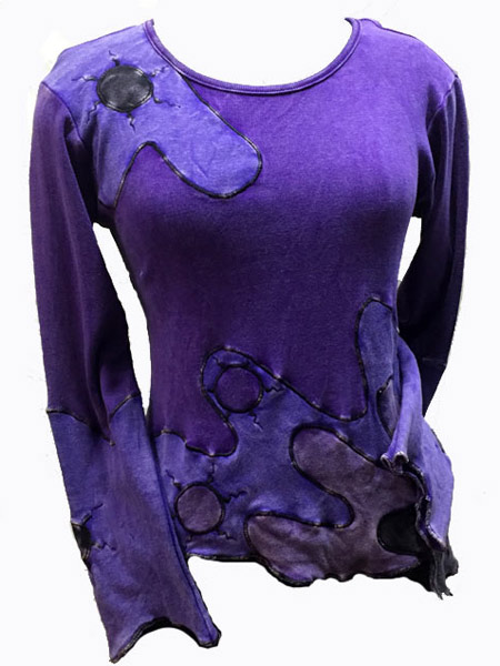 Winter hippie top with large flower and in long sleeve